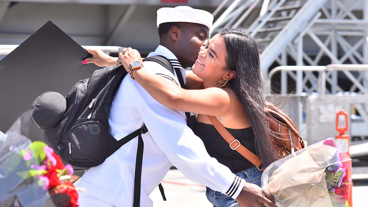 Jerelle Alexander and his wife get the first kiss off of the USS Theodore Roosevelt at Air Station North Island. Photo by Chris Stone