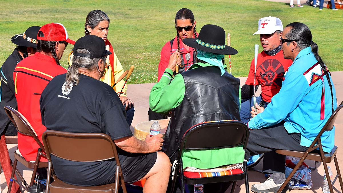 Kumeyaay Drum Circle could be faintly heard inside the City Council chambers.