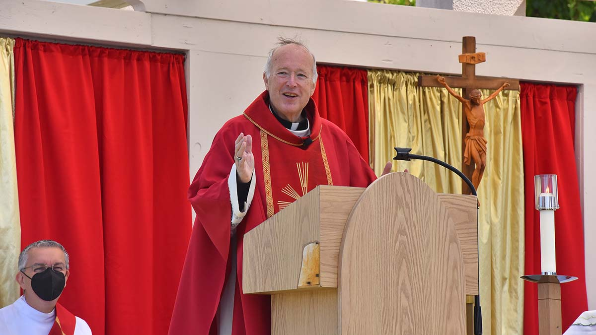 San Diego Bishop McElroy presided during a Pentecost Mass in the parking lot of Good Shepherd Church in Mira Mesa. Photo by Chris Stone