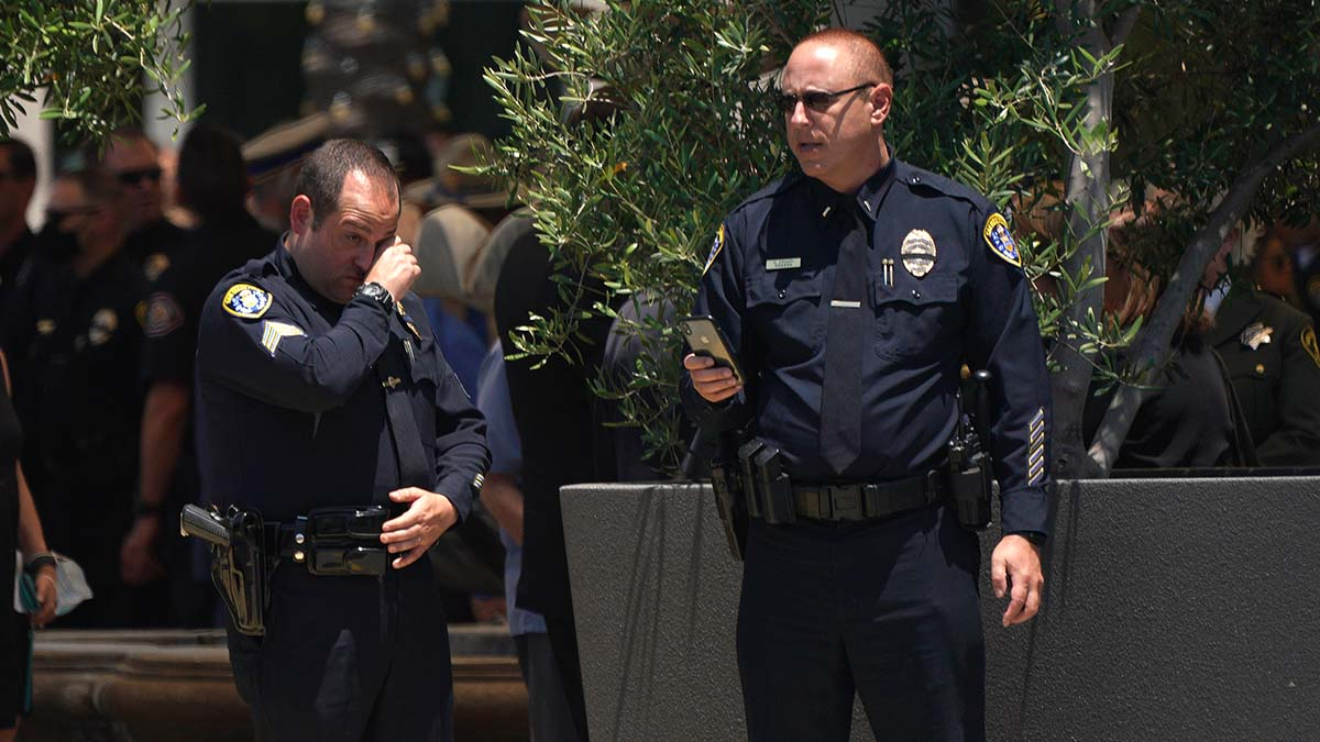 Thousands of police officers attended the memorial service at Maranatha Chapel in 4S Ranch. Photo by Chris Stone