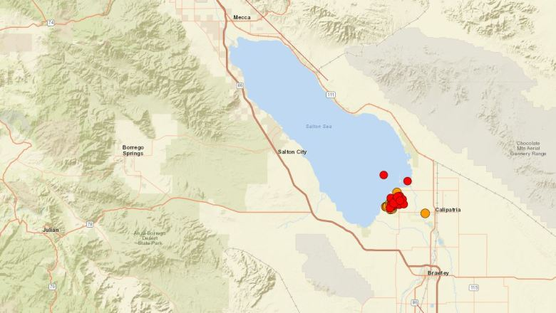 Map showing earthquake swarm