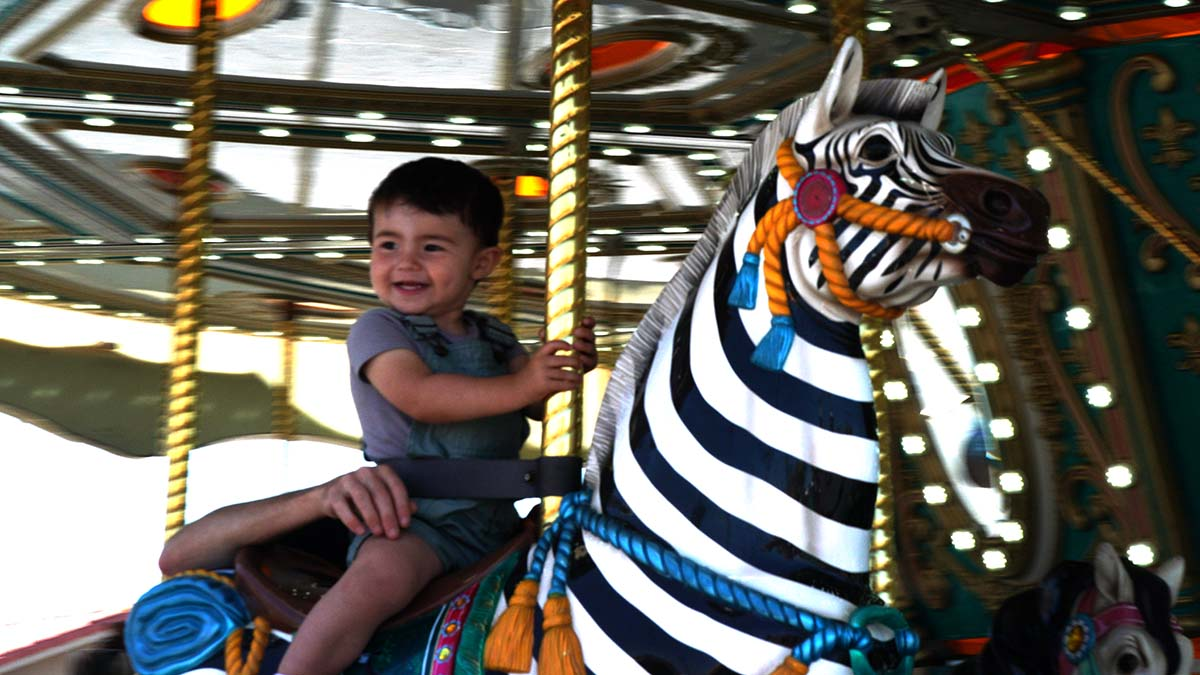The carousel was one of the only rides operating as of Friday. Photo by Chris Stone