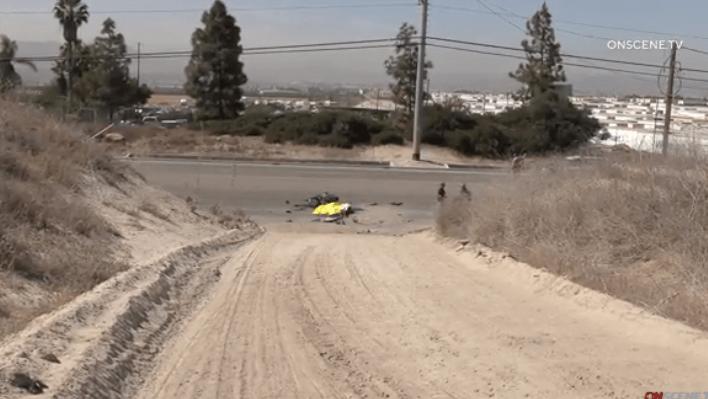 Scene of fatal motorcycle crash near Brown Field.