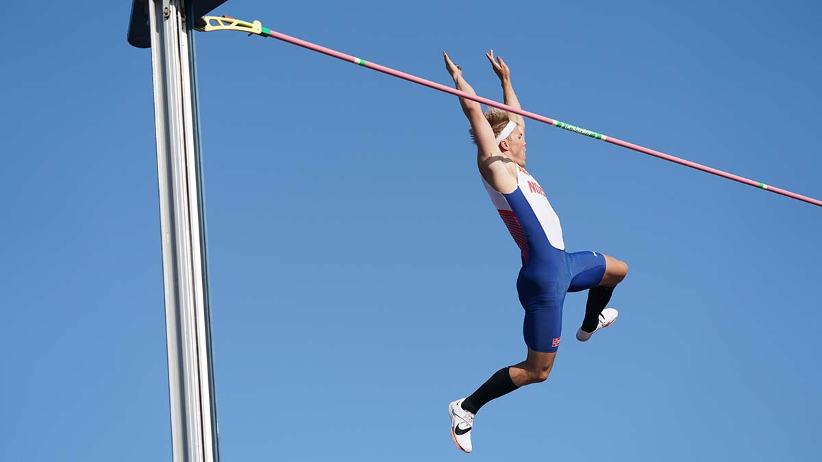 Norway's Sondre Guttormsen betters his own national pole vault record with a 19-0 3/4 jump
