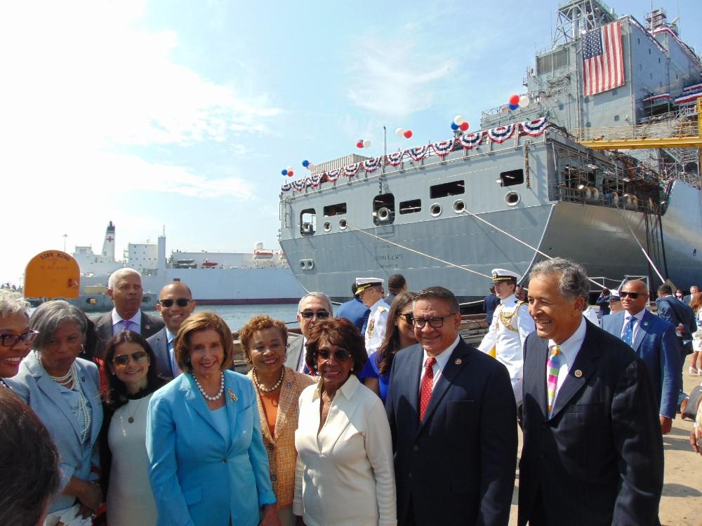 Nancy Pelosi and Maxine Walters with USNS John Lewis