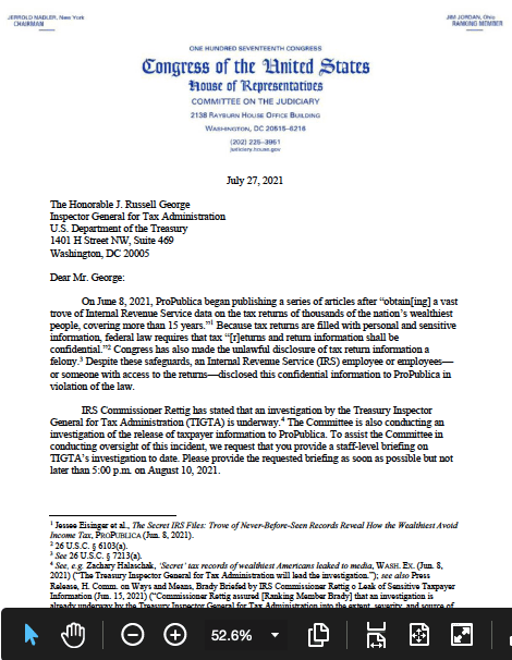 Issa-George letter to inspector general for tax administration