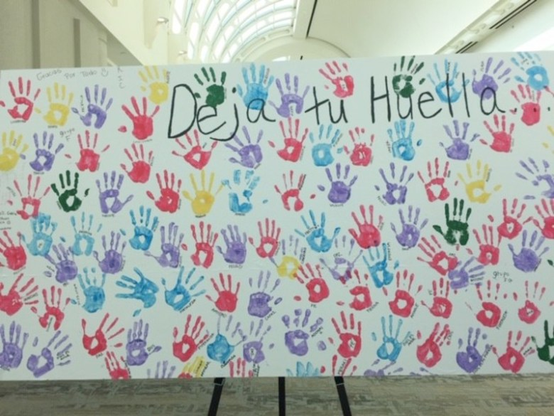 Hand prints of migrant children house at the shelter