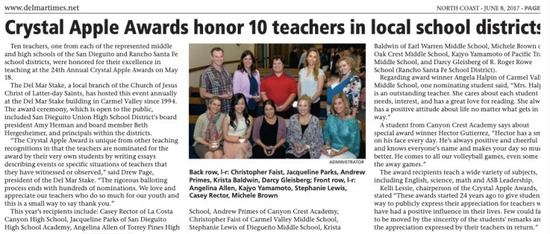Andrew Primes (wearing red in back row) won a Crystal Apple Award in 2017 for work at Canyon Crest Academy.