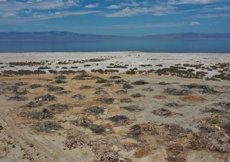 View of the receding Salton Sea
