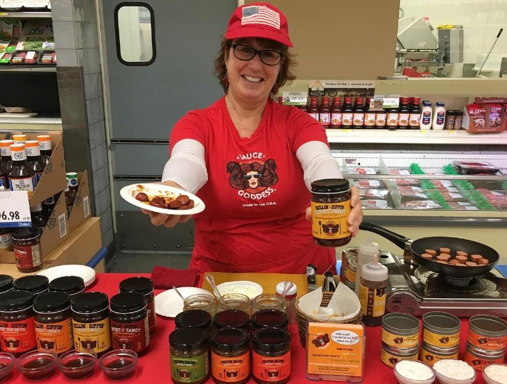 Jennifer Reynolds with Sauce Goddess products