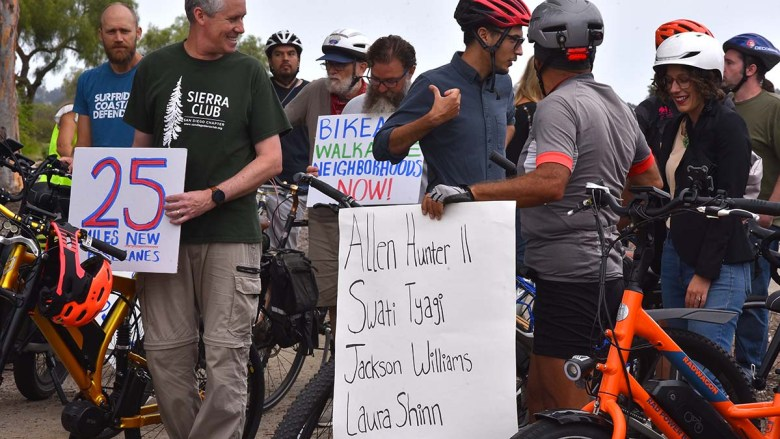 Bicycle safety advocates list victims of recent cycle accidents. Photo by Chris Stone