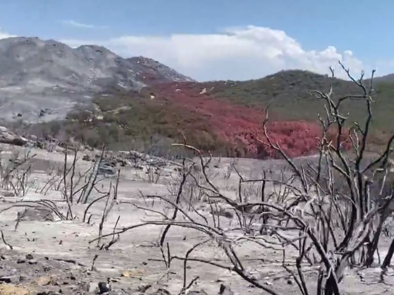 Areas charred by the Chaparral Fire