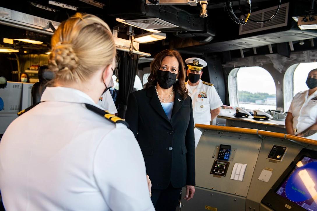 Vice President Kamala Harris aboard the USS Tulsa