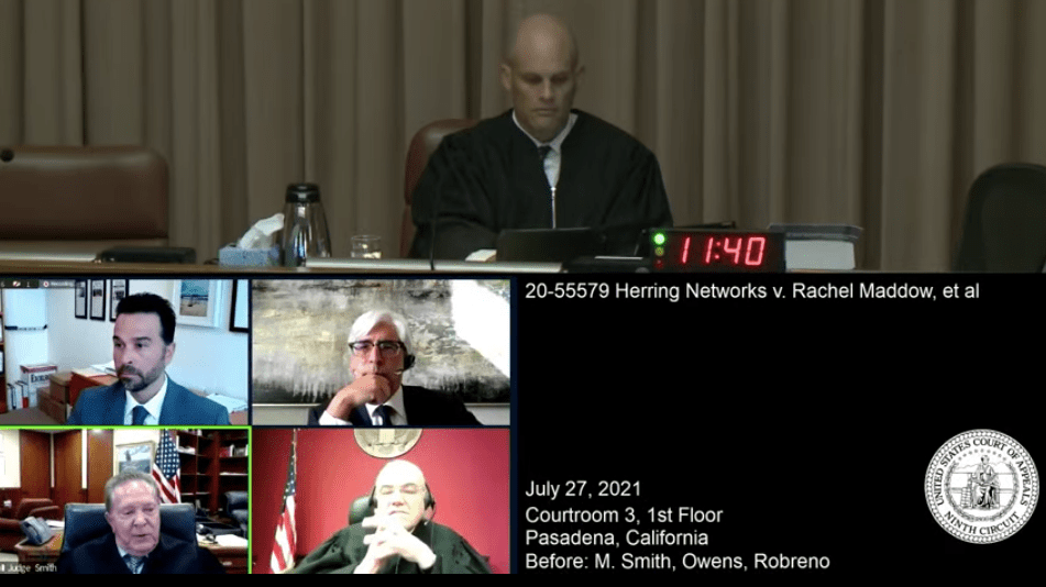 Amnon Siegel (middle left) represented Herring Networks and Ted Boutrous (middle right) argued for Rachel Maddow and her employers in July 27 hearing before three judges of the 9th U.S. Circuit Court of Appeals