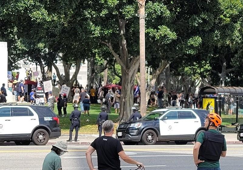 Vaccine protest in downtown LA