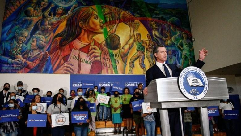 Gov. Gavine Newsom at Latino youth rally