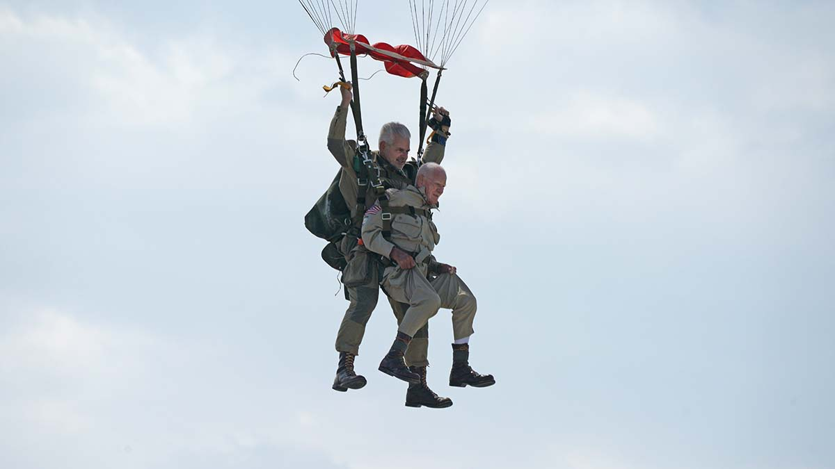 Tom Rice Rice jumps in tandem with Art Shaffer, who operates a skydive training center in Florida. Photo by Chris Stone