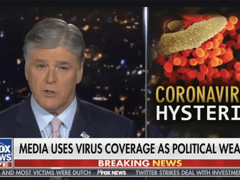 Remarks by Sean Hannity of Fox News were cited by WASHLITE as harming public health by downplaying the danger of the virus causing COVID-19. Image via Fox News