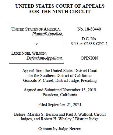 Opinion by 9th U.S. Circuit panel in Luke Wilson case.