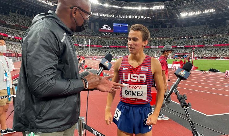Joel Gomez chats with NBC's Lewis Johnson after 400-meter semifinal.