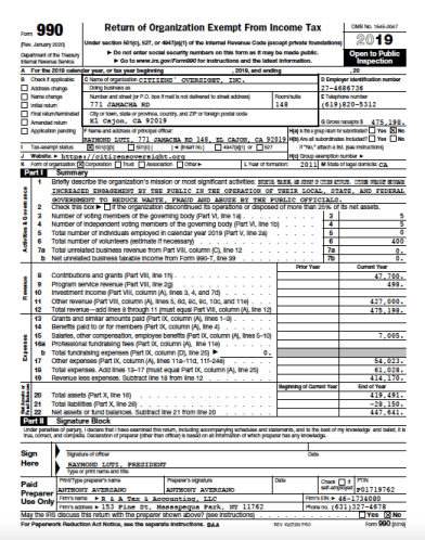 Form 990 for the nonprofit Citizens' Oversights Projects (PDF)