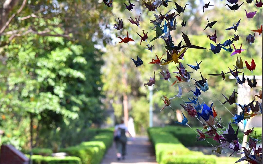 Crane artwork drapes an entrance to the Mingei Museum. Photo by Chris Stone