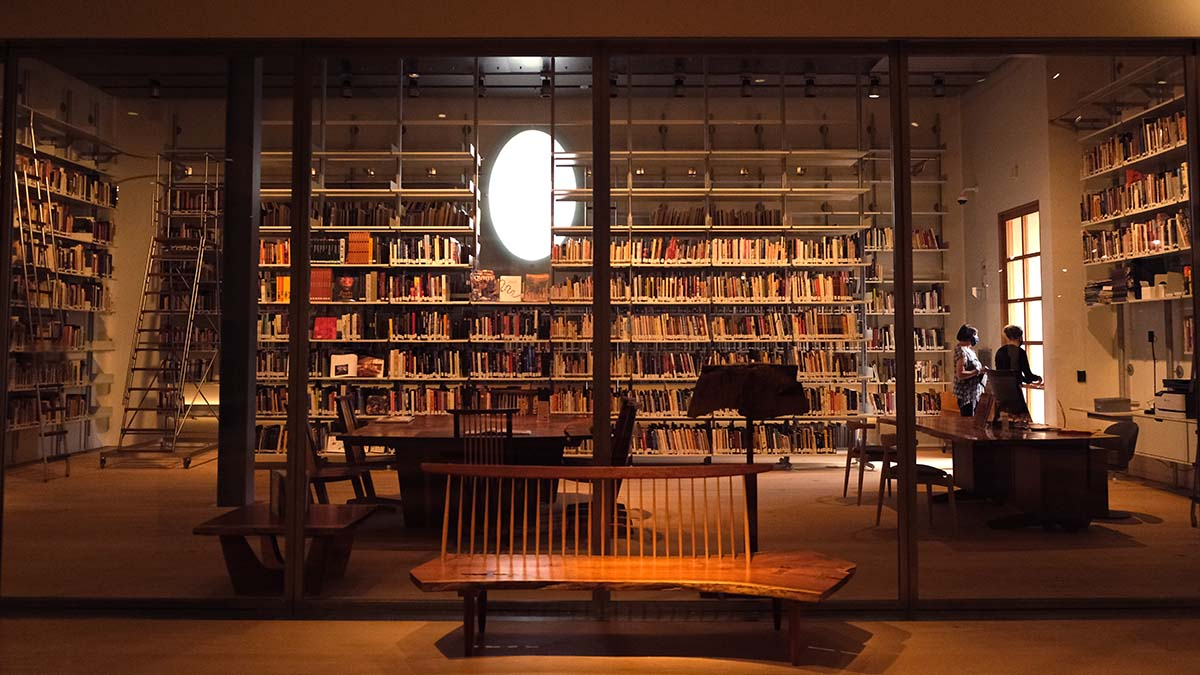 The Mingei Museum's library contains hundreds of books on art. Photo by Chris Stone