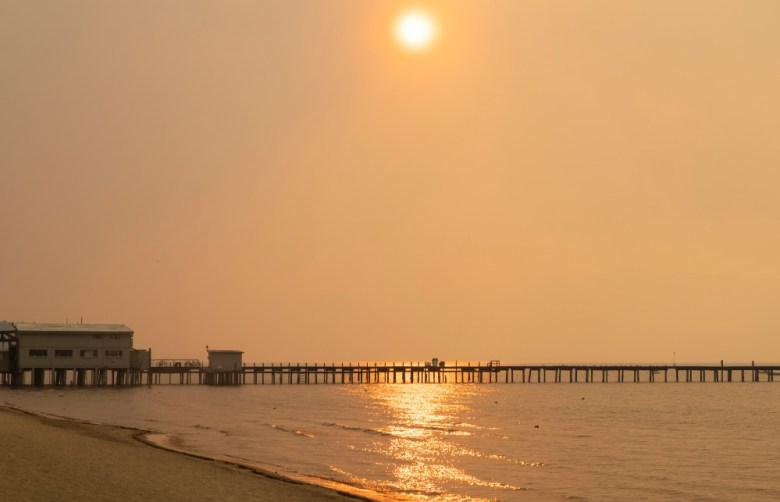 Smoke obscures the South Lake Tahoe area
