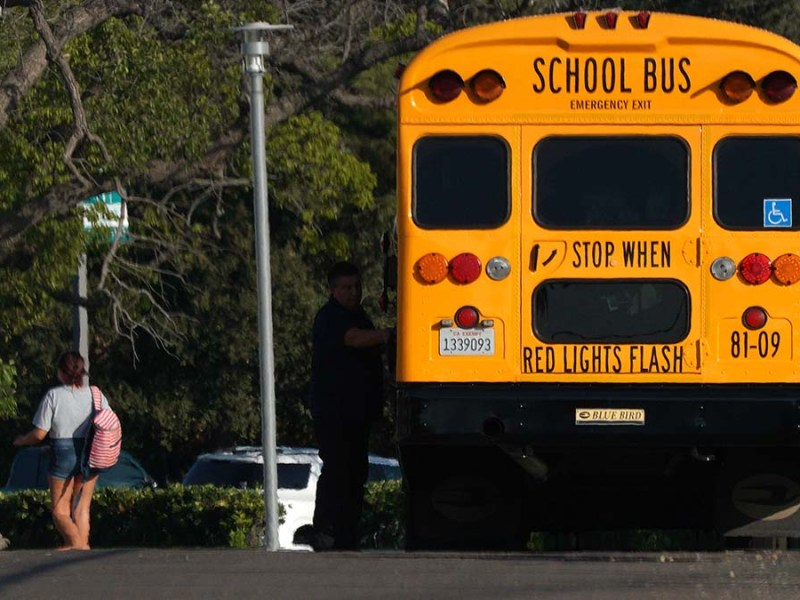 A school bus at Grossmont High School. Photo by Chris Stone