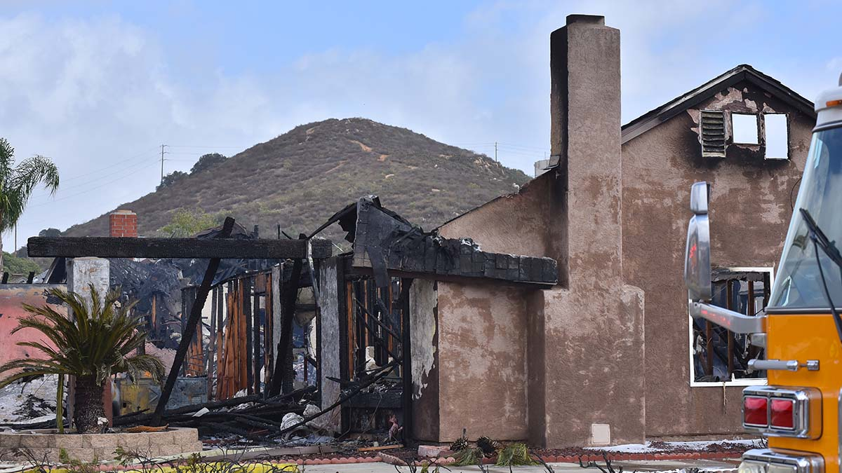 A Santee home was destroyed when a plane crashed into it. Photo by Chris Stone