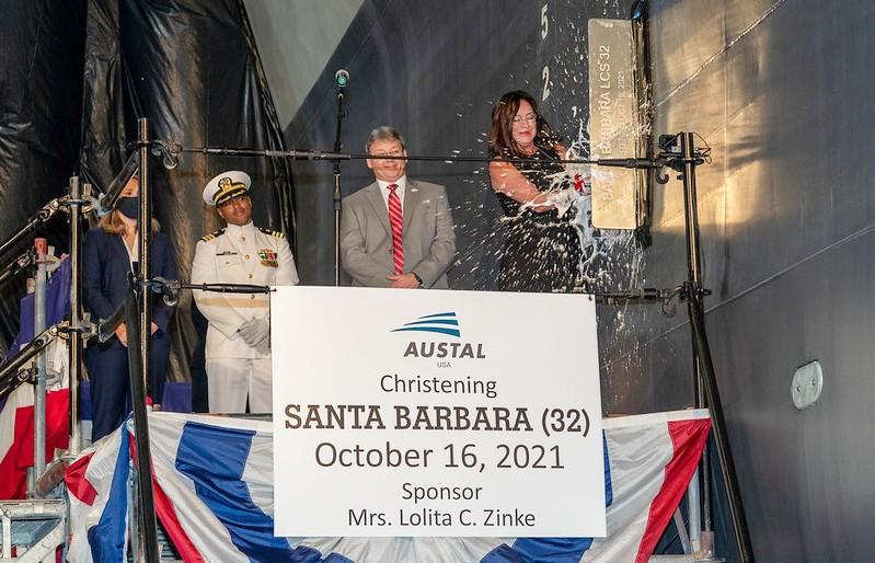Christening of future USS Santa Barbara