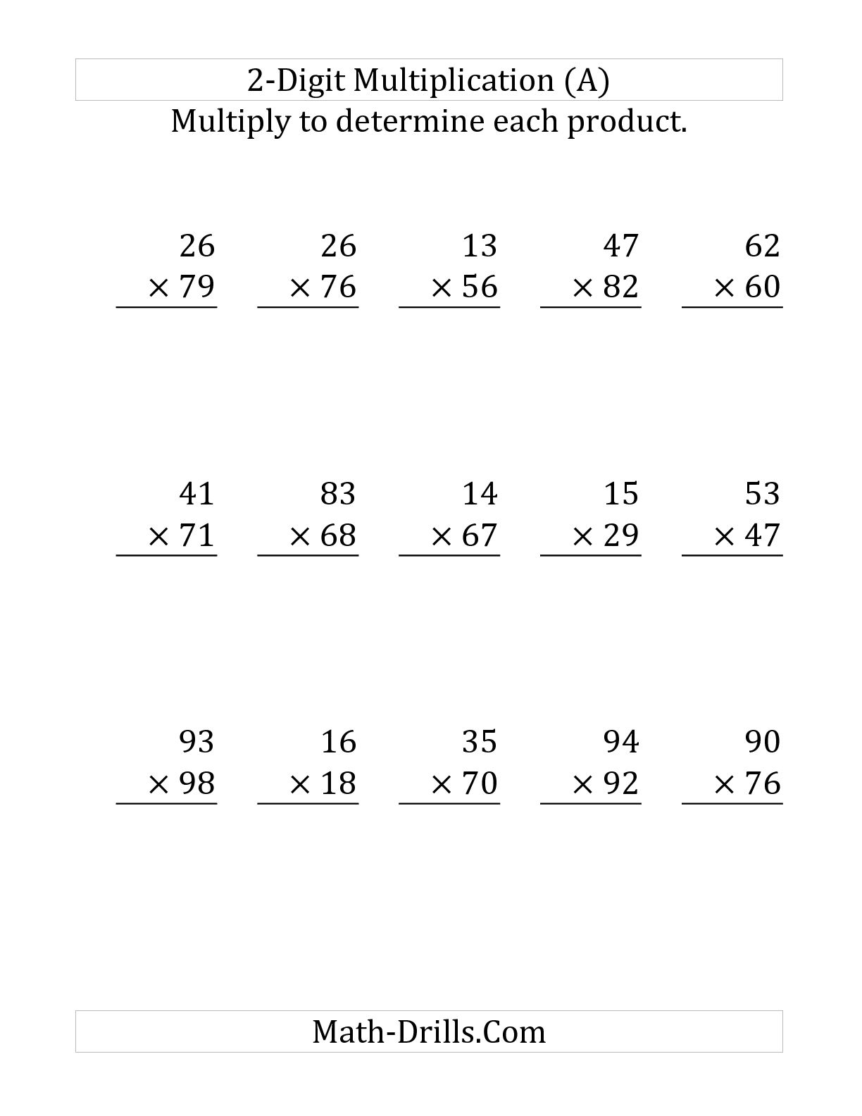 Free Printable Double Digit Multiplication Worksheets