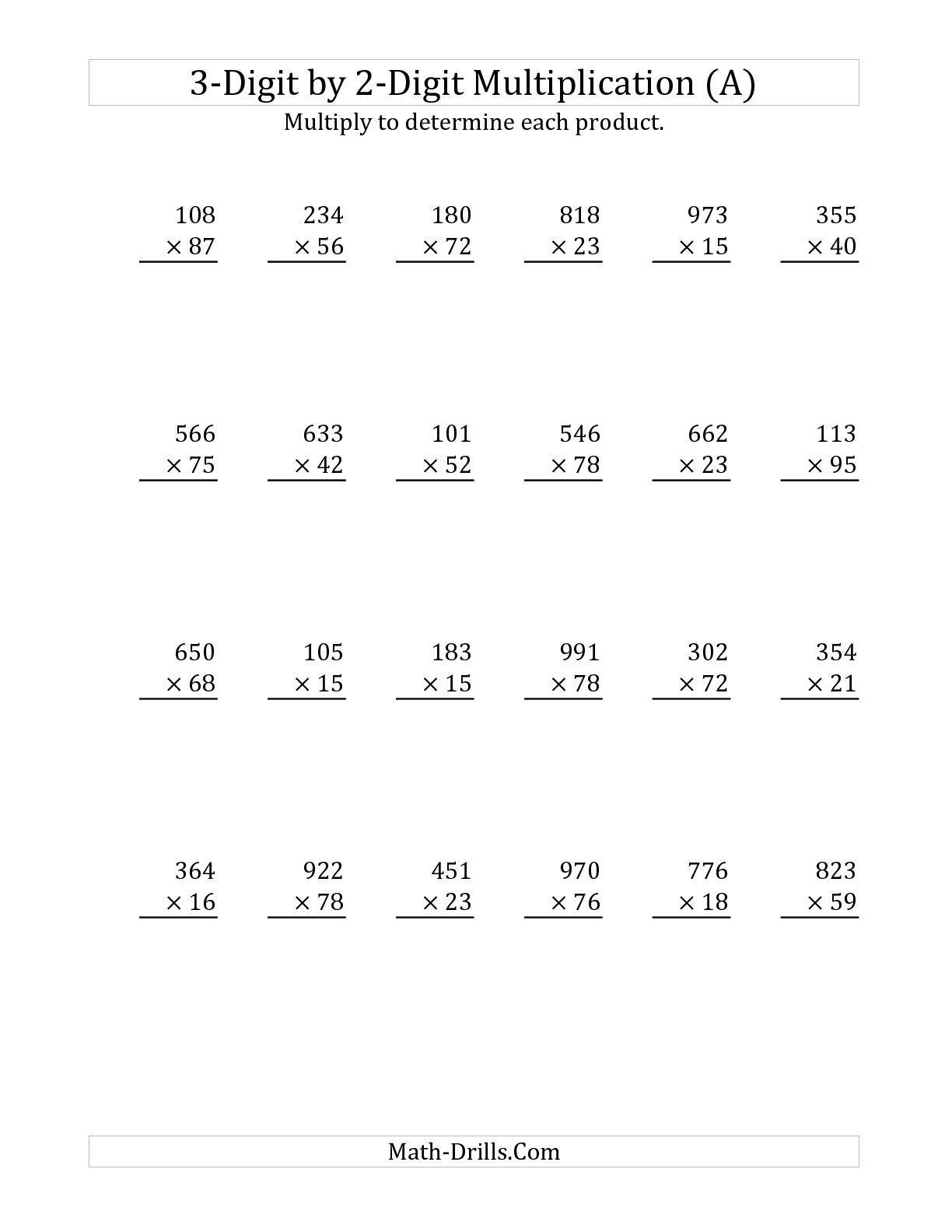 2 By 3 Digit Multiplication Worksheets