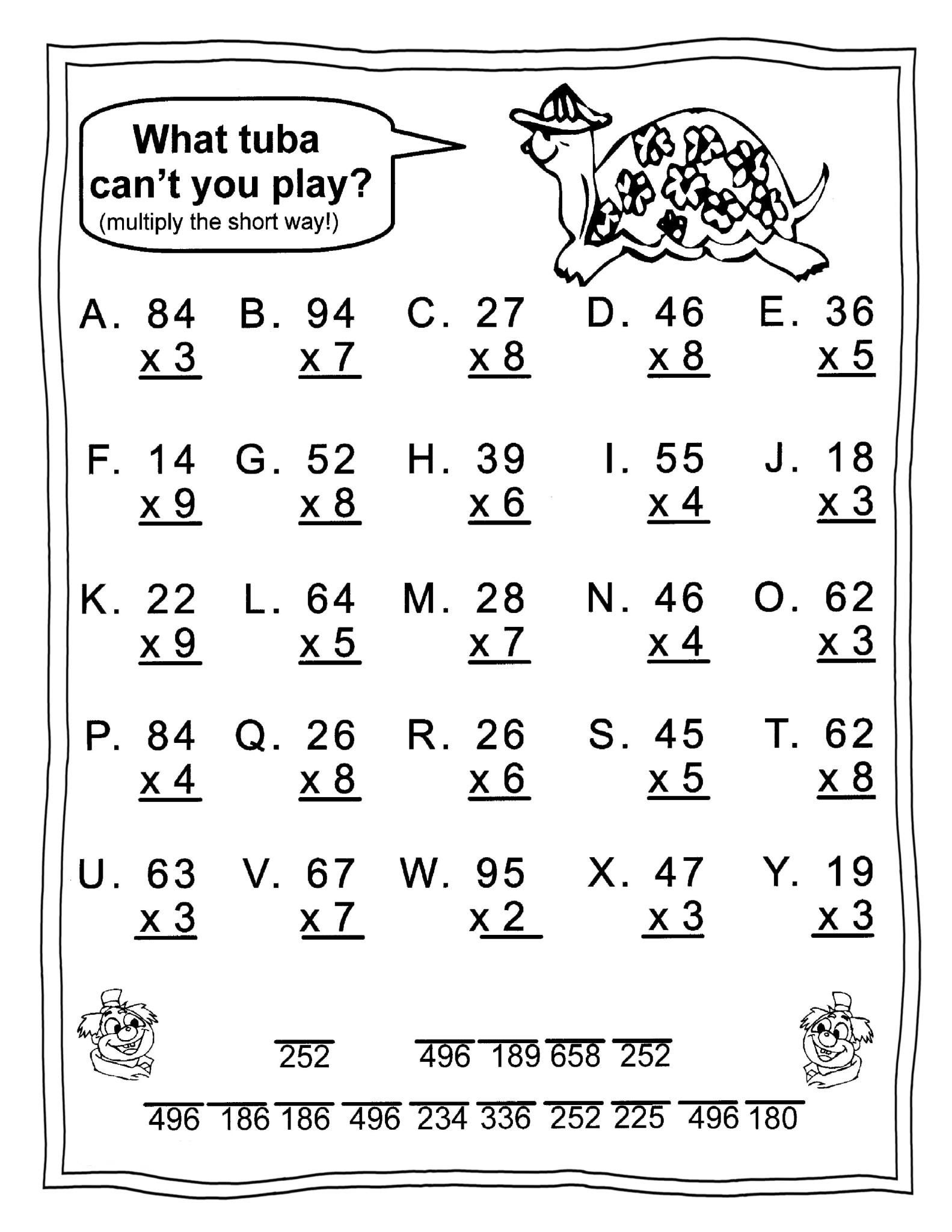 7th Grade Math Multiplication Worksheets