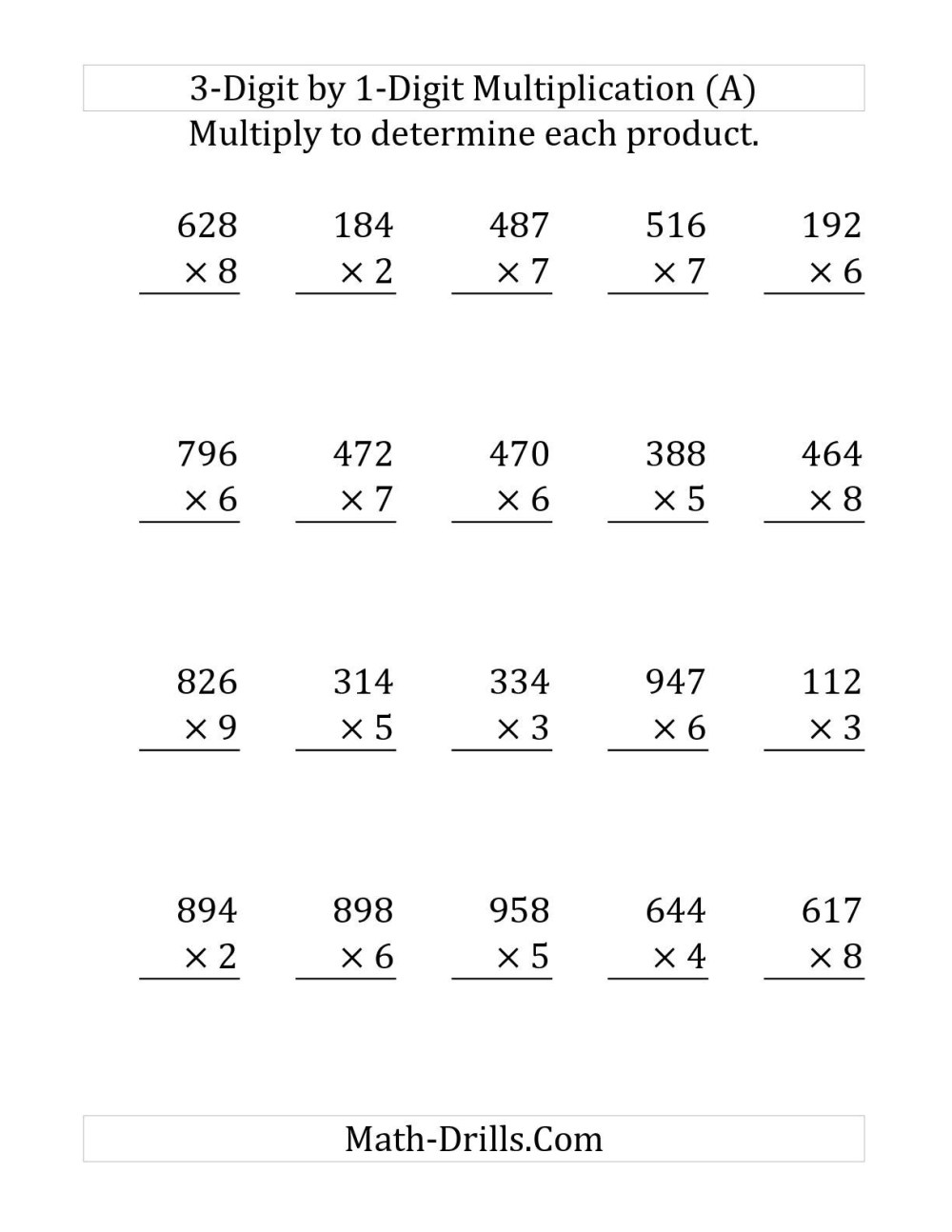 medium resolution of 1 Digit By 1 Digit Multiplication Worksheets   Printable Worksheets and  Activities for Teachers