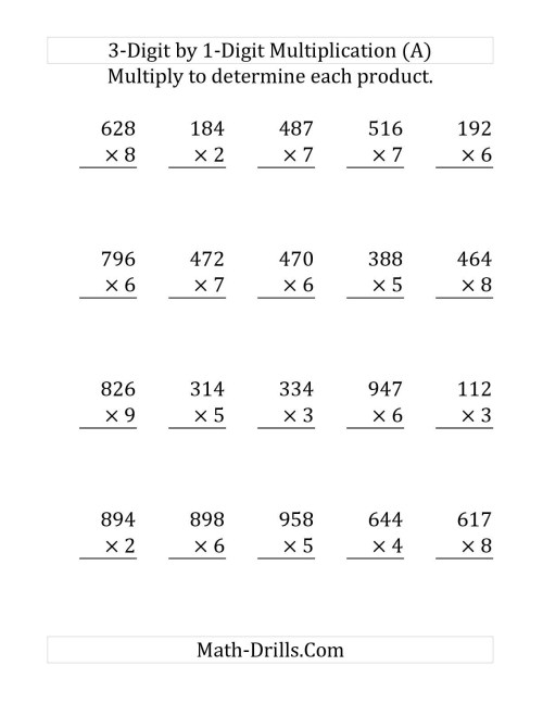 small resolution of 1 Digit By 1 Digit Multiplication Worksheets   Printable Worksheets and  Activities for Teachers
