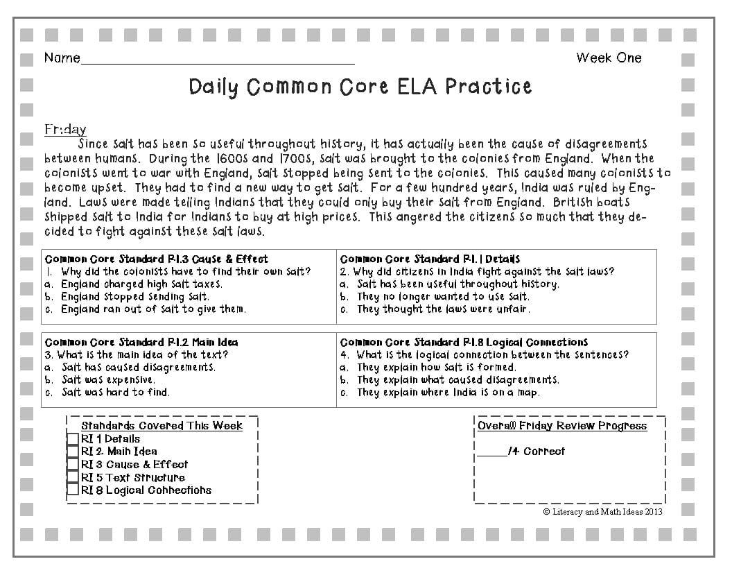 Main Idea Multiple Choice Worksheets Middle School