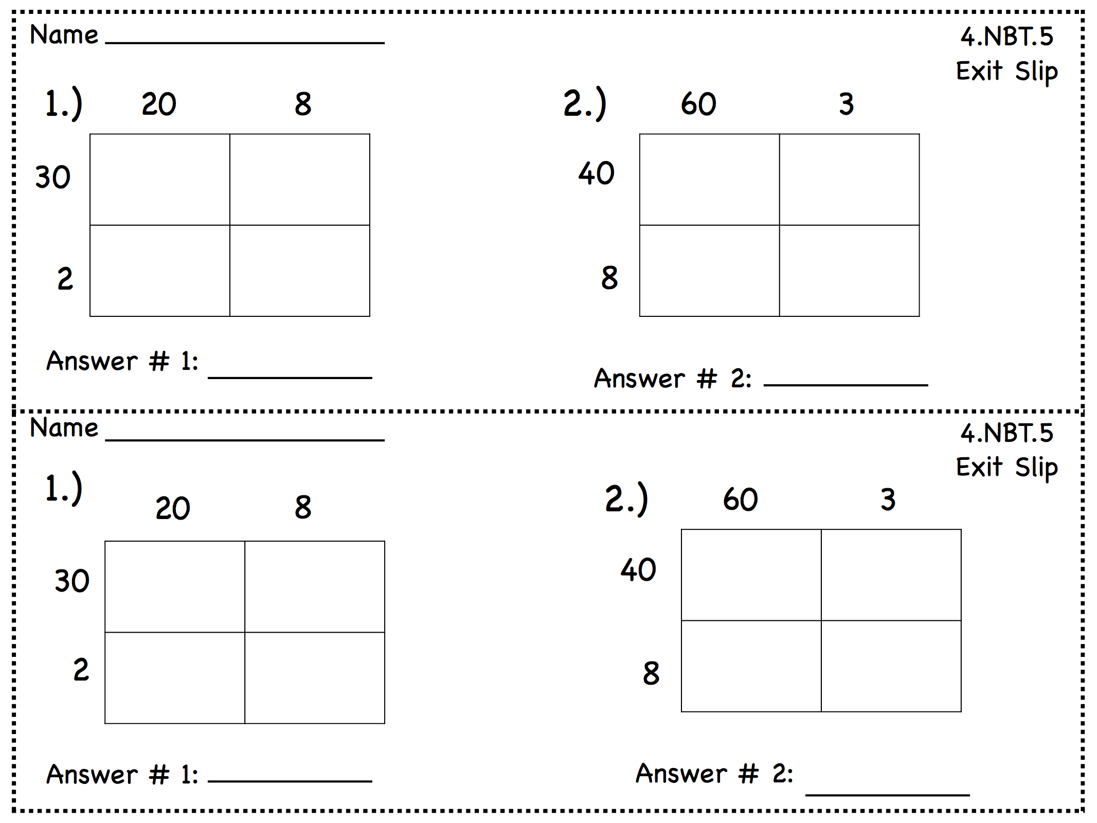 4th Grade Area Model Multiplication Worksheets