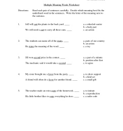Multiple Meaning Worksheet   Printable Worksheets and Activities for  Teachers [ 1650 x 1275 Pixel ]