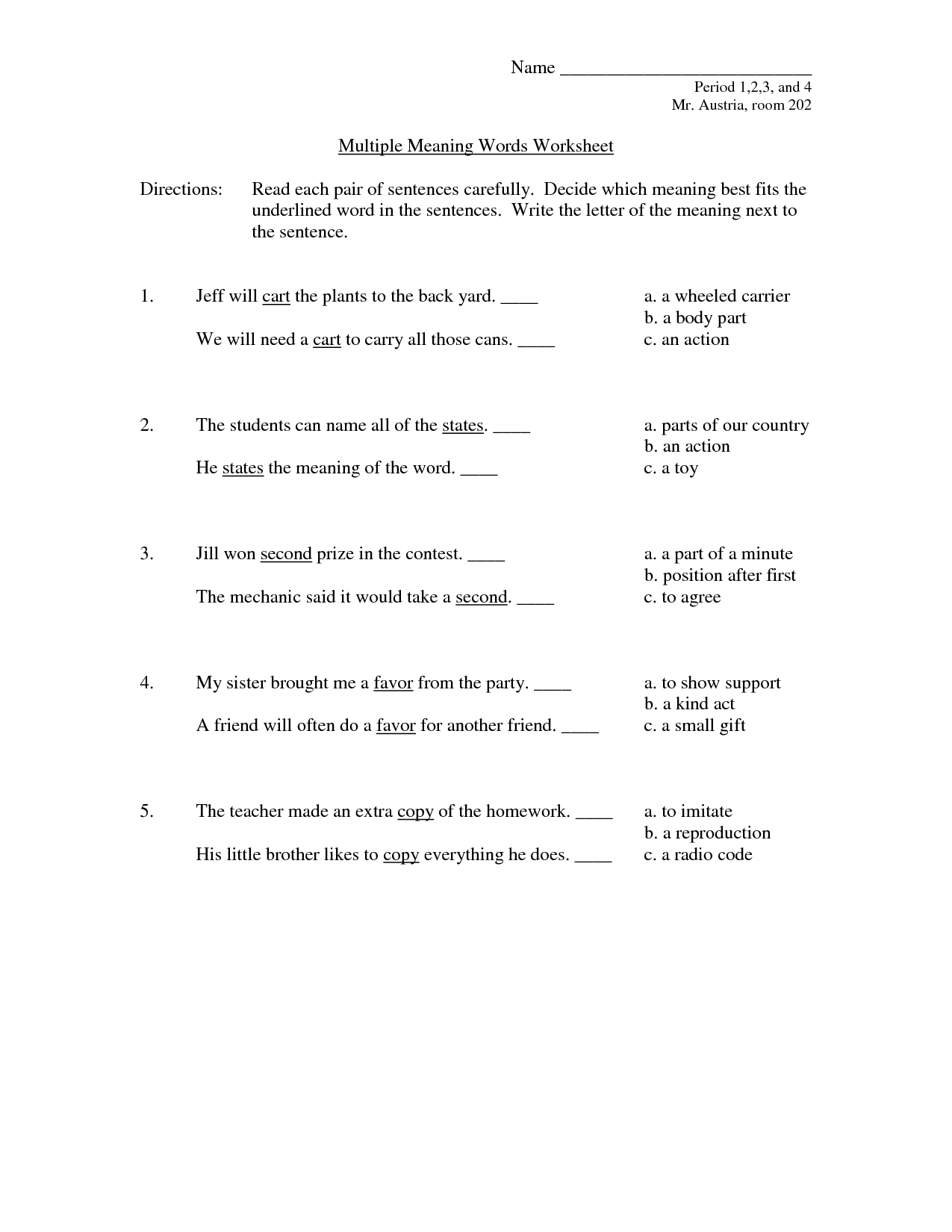 hight resolution of Multiple Meaning Worksheet   Printable Worksheets and Activities for  Teachers