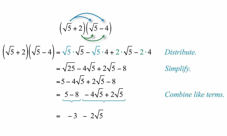 Multiplication Of Radical Expressions Worksheet