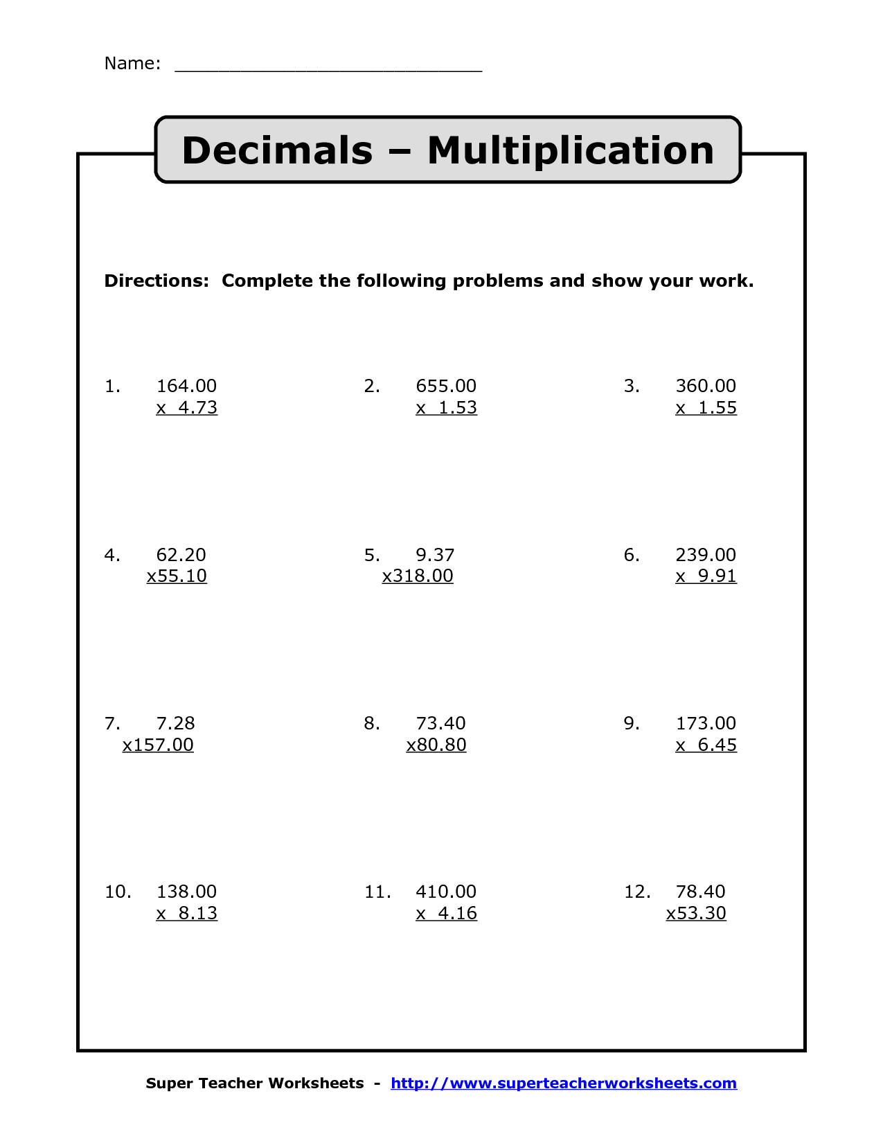 Multiplication And Division Of Decimals Worksheets