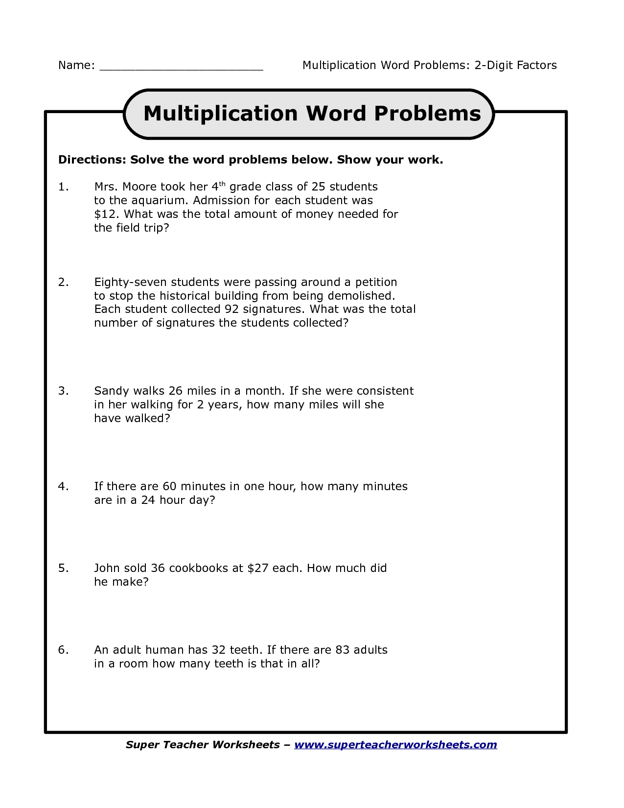 5th Grade Math Multiplication Word Problems Worksheets