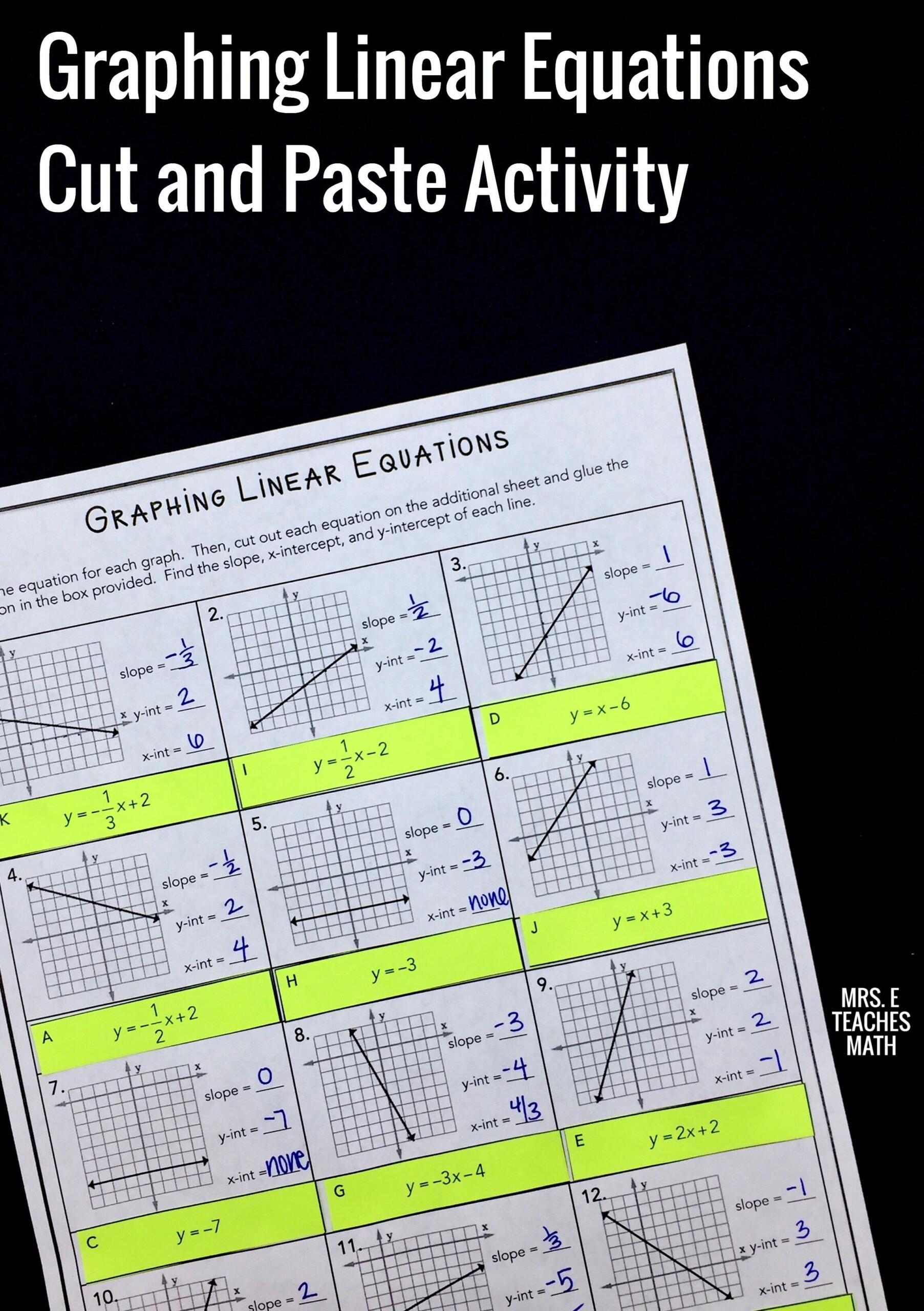 Multiple Representations Of Linear Relationships Worksheet