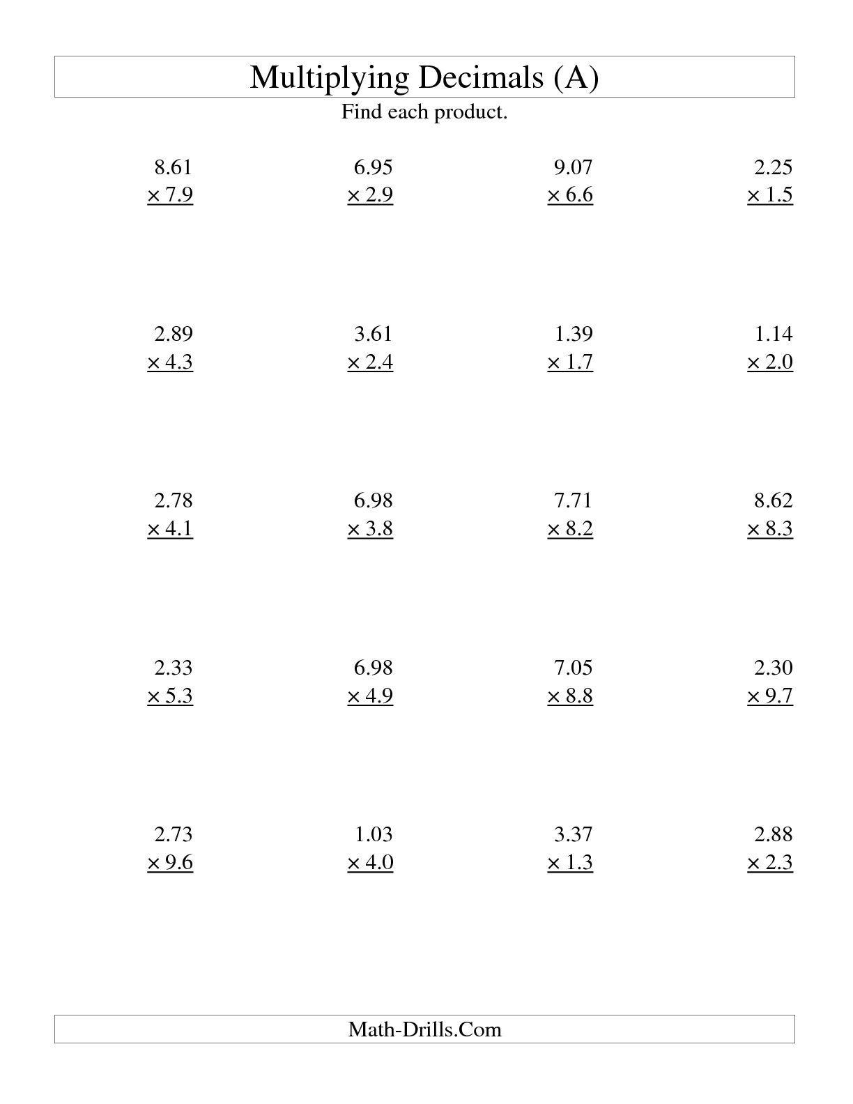 Decimal Multiplication Worksheet
