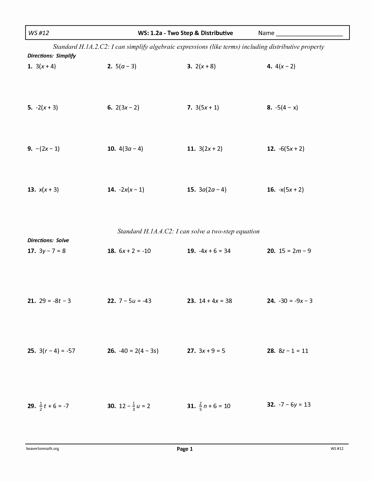 One Step Equations Multiplication And Division Worksheet