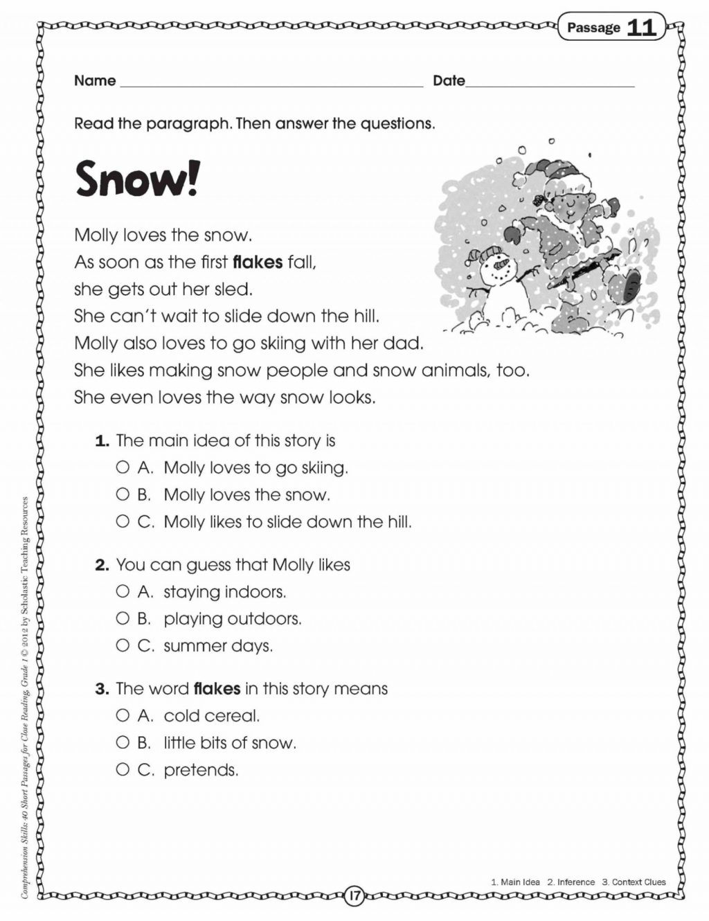 5th Grade Multiple Choice Reading Comprehension Worksheets