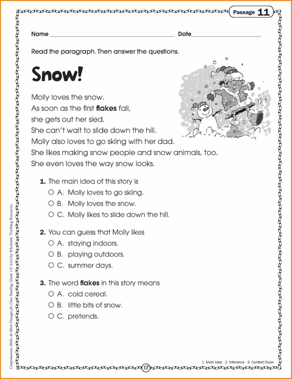 6th Grade Reading Comprehension Worksheets Multiple Choice