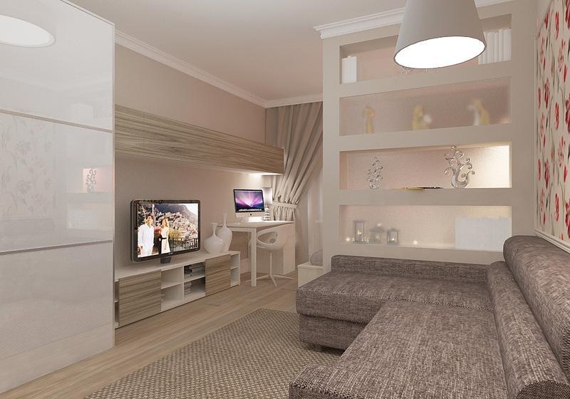 дизайн комнаты 18 квм в однокомнатной квартире фото 6