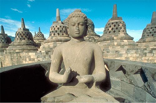 Buddha statue in Borobudur Stupa, Java, Indonesia